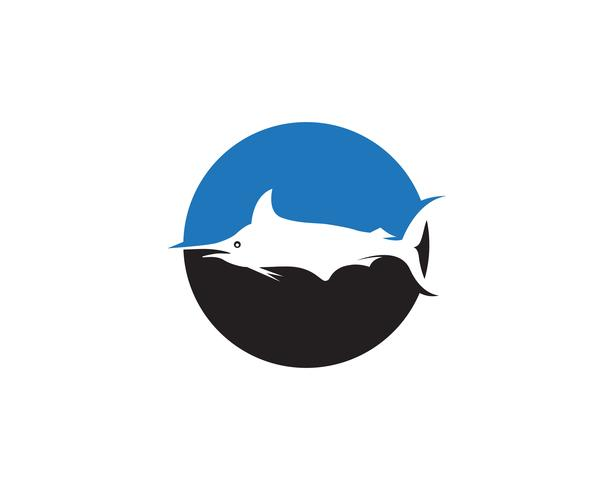 Marlin jump fish logo e ícone de símbolos