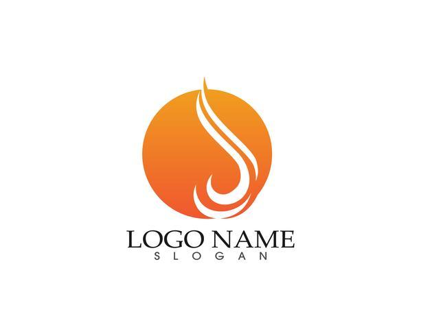Plantilla de los iconos de los símbolos de la insignia de la llama de la naturaleza del fuego vector