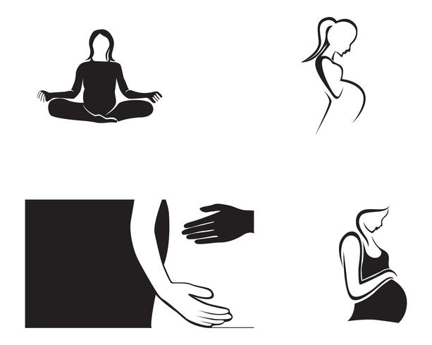 schwangere Frau Linie Kunst Symbole Vorlage Vektor