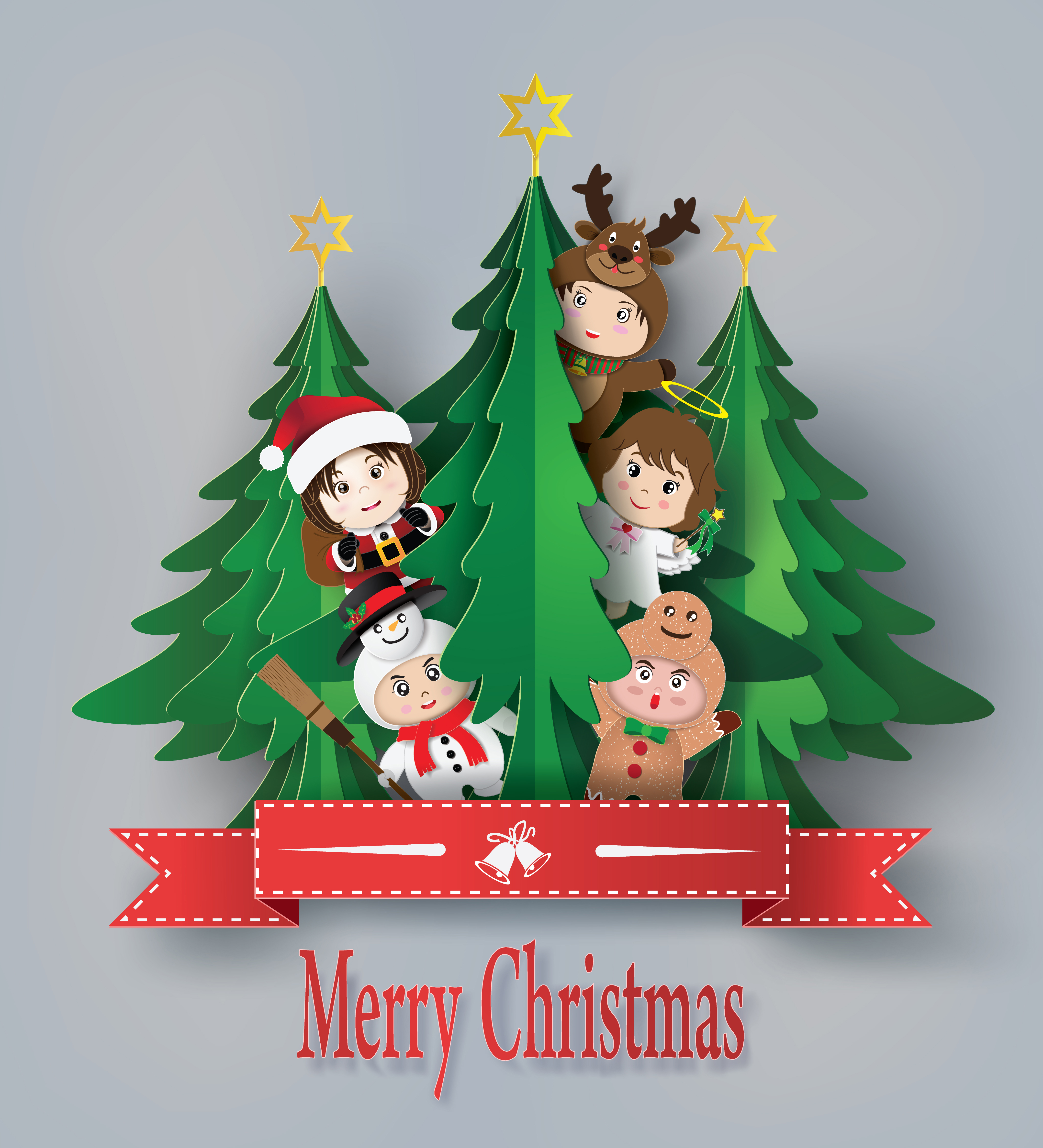 merry christmas greeting card with children  download