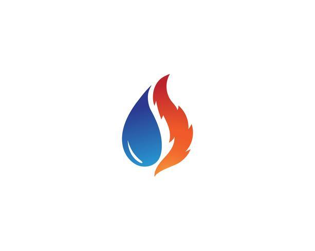 Goccia d'acqua e fuoco modello illustrazione logo
