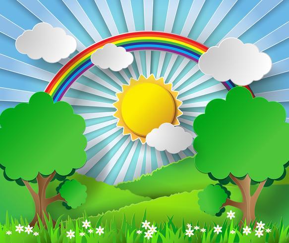 Arco-íris e luz do sol de papel abstratos. Ilustração vetorial