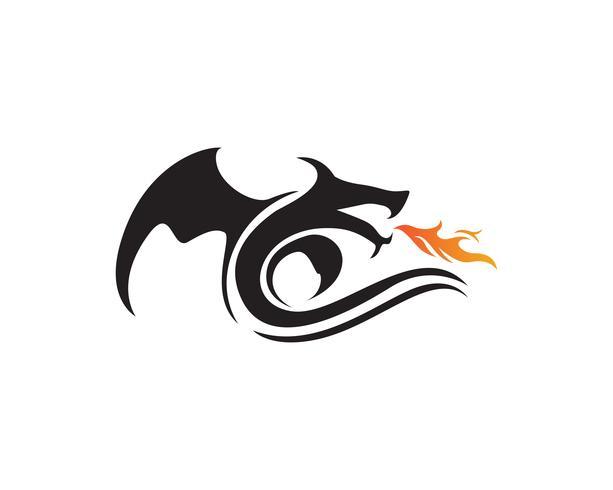 illustrazione di vettore del modello di logo di colore piatto del drago
