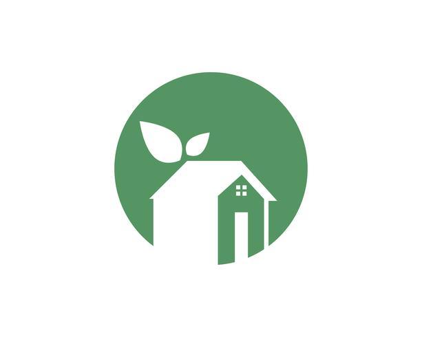 Logotipo da natureza verde folha em casa