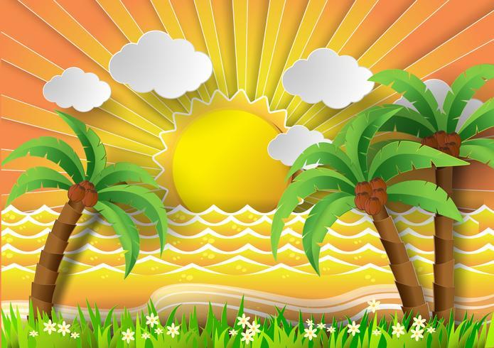Coconut trees on the beach with sunbream. vector