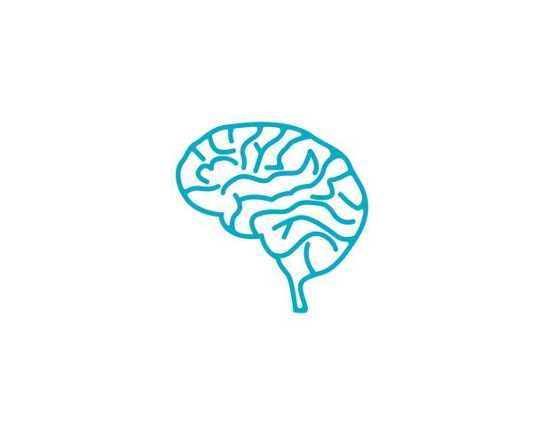 Modelo de logotipo do cérebro e app de ícones de símbolos vetor