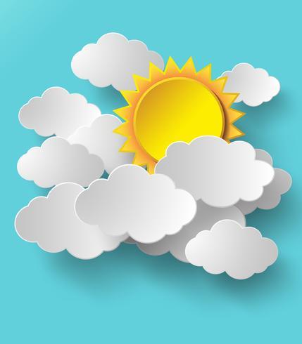 Vektor sol med moln bakgrund.