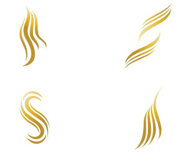 logotipo de mulher de cabelo e modelo de vetor de símbolos