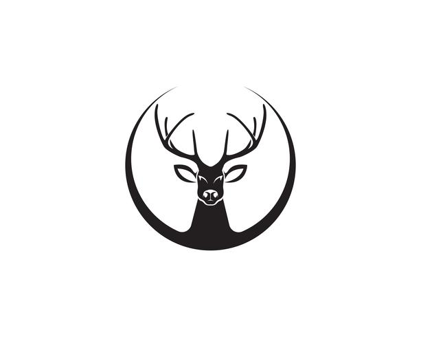 Head deer animals logo ícones de silhouete preto