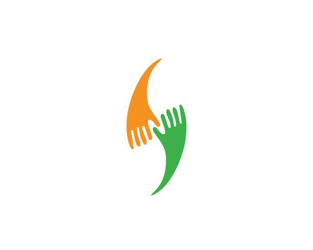 Affare dell'icona di vettore del modello di Logo di cura della mano