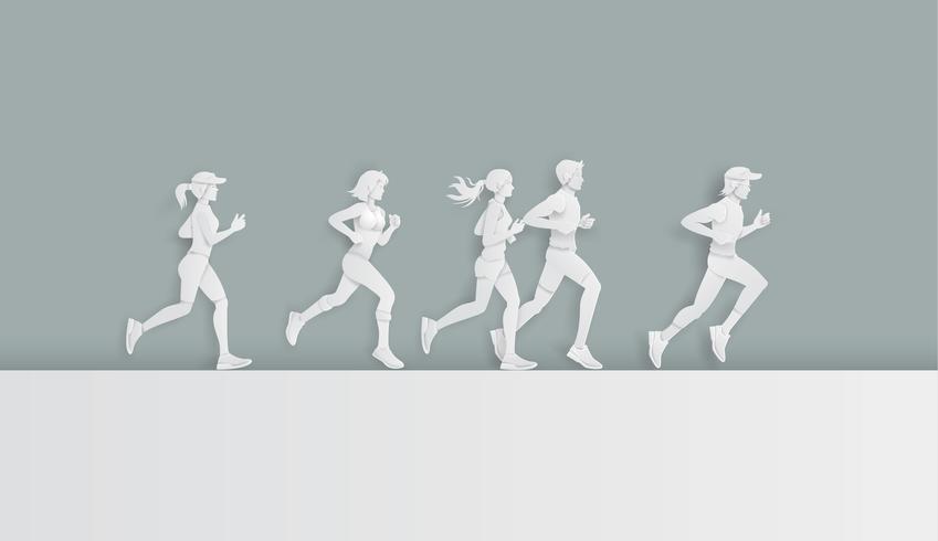 Hombre y mujer corriendo vector