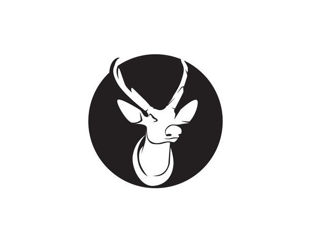 Head deer animals logo ícones de silhouete preto