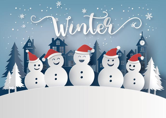 Winterseizoen en Merry Christmas met sneeuw man
