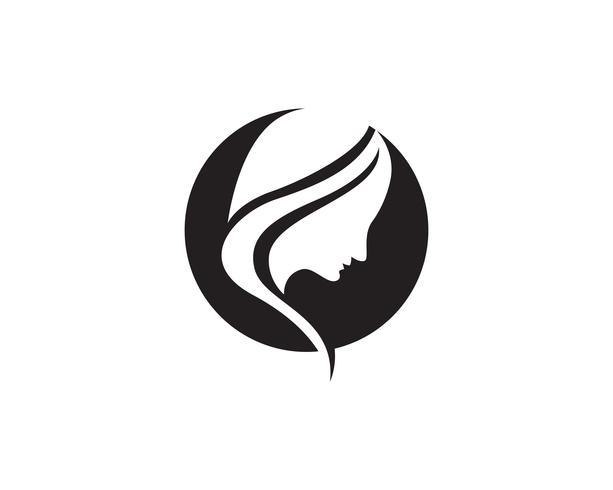 Logotipo de cabeça de mulher de cabelo e ícones de símbolos