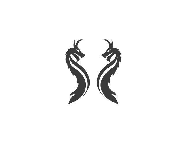 Vettore del modello di logo di colore piatto testa drago