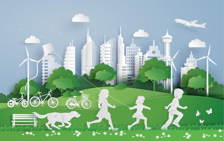children running in the city park