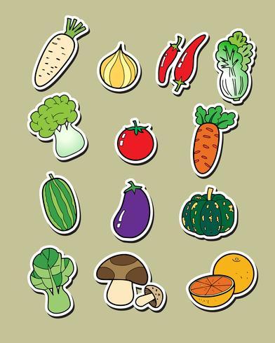Legumes de desenho à mão livre.