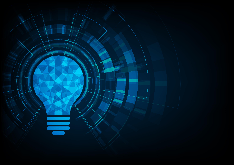 Technology Concept Light Bulb Polygonal Shape Of An