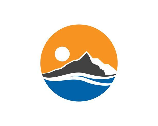Montaña y agua Logo Business Template Vector