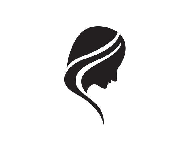 Haarfrauenkopflogo und Symbolikonen