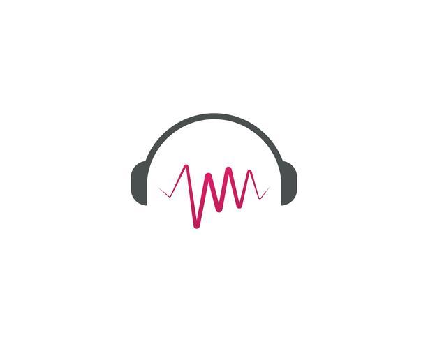 Headphone Music note logo Ilustração em vetor
