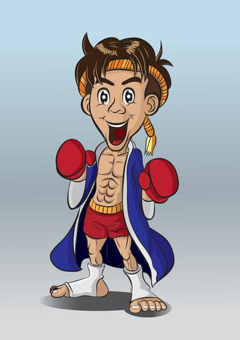 Boxeo tailandés muay tailandés vector