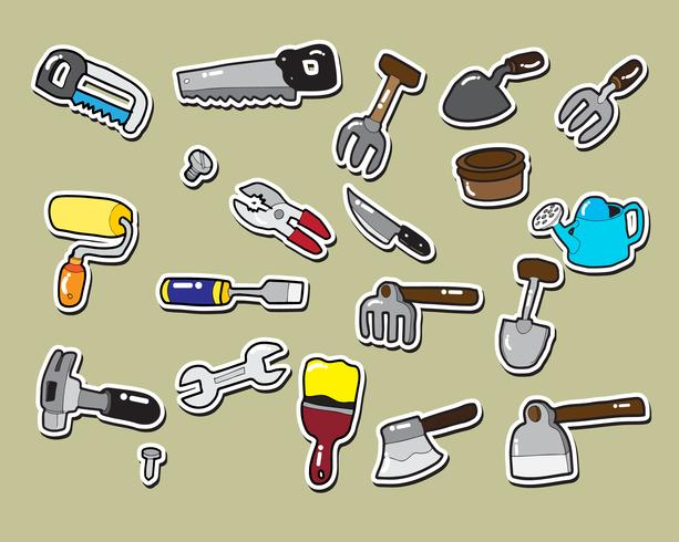 etiqueta da carpintaria e da ferramenta de jardinagem vetor