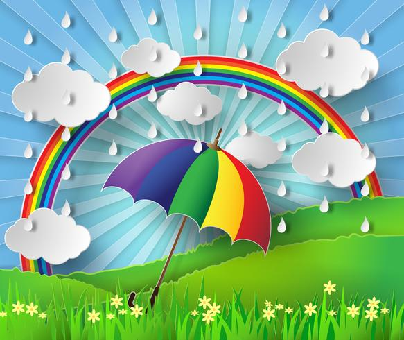 Färgglatt paraply i regnet med regnbåge.
