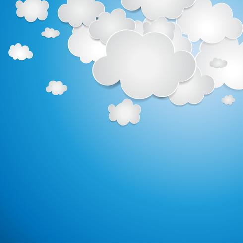 Vetor abstrato composto por nuvens de papel branco.
