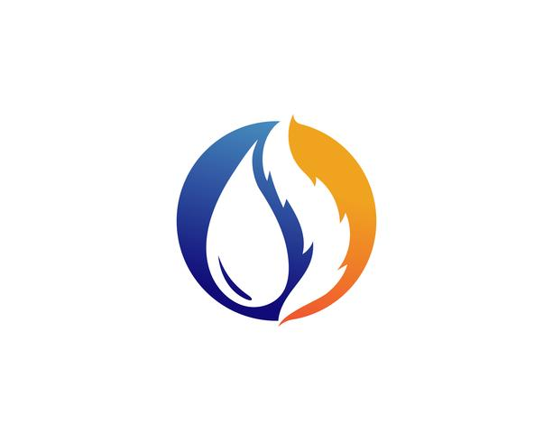 Water drop and fire logo template illustration