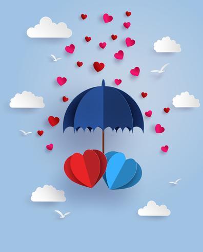 coração gêmeo sob o guarda-chuva azul flutuando no céu com nuvem