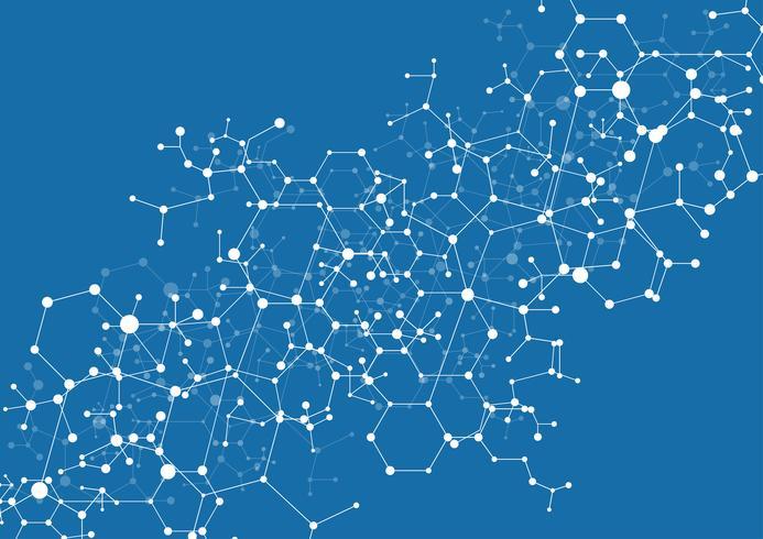 Sfondo astratto virtuale con particelle, struttura della molecola.