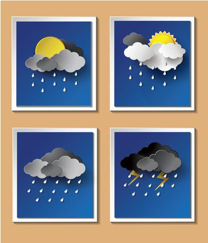 Fondo de temporada de lluvias con gotas de lluvia y nubes. vector