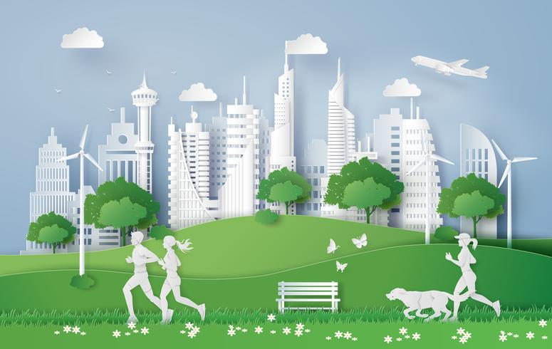 Illustration von eco Konzept, grüne Stadt im Blatt.