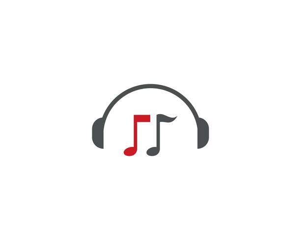 Illustrazione di vettore di logo della nota di musica della cuffia