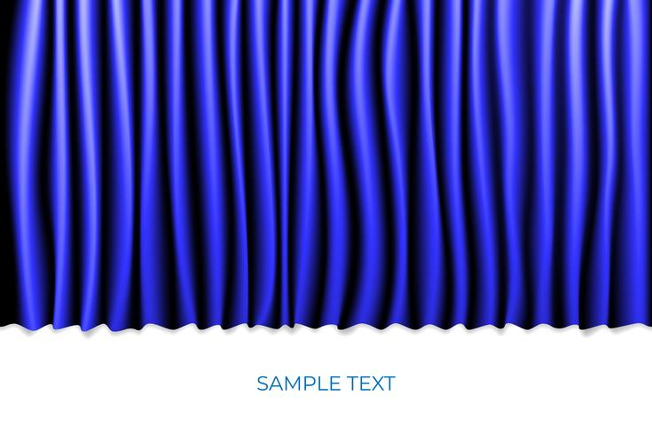 Blue Curtain Theater Scene Stage Background. Backdrop with Luxury Silk Velvet. White Copyspace.