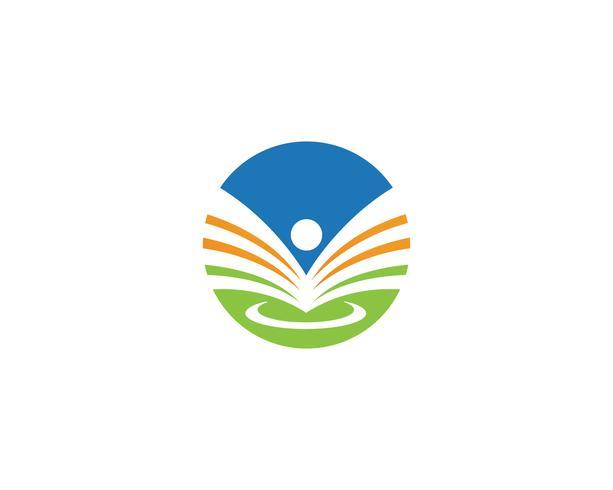 Libro de lectura de logotipo y símbolos iconos de plantilla