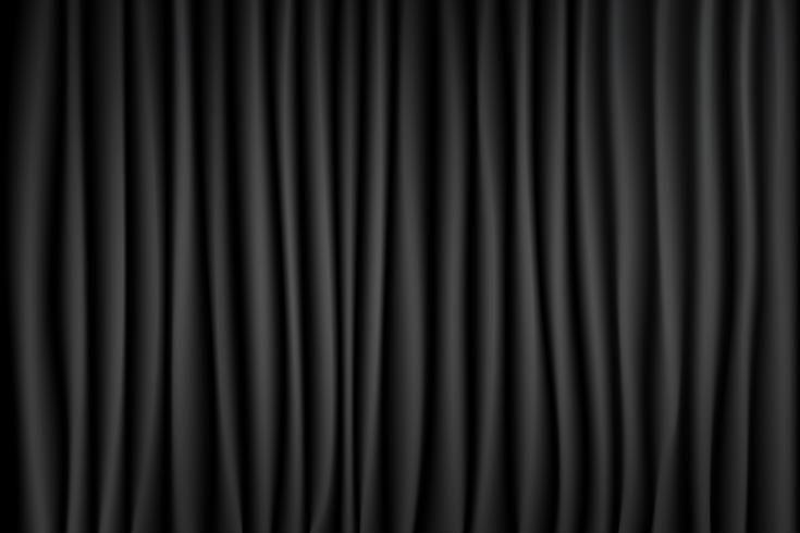 Fundo de fase preto e branco da cena do teatro da cortina. Pano de fundo com veludo de seda de luxo. Textura abstrata.
