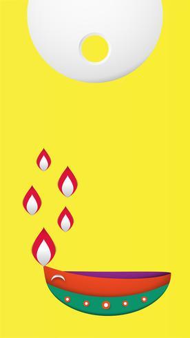 Diwali ist Festival der Lichter der Hindu für Einladung Hintergrund, Web-Banner, Werbung. Vektorillustrationsdesign im Papierschnitt und in der Handwerksart.