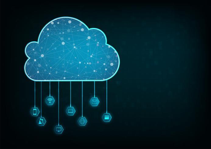 Concetto di calcolo della nuvola. Fondo astratto di tecnologia di collegamento della nuvola.