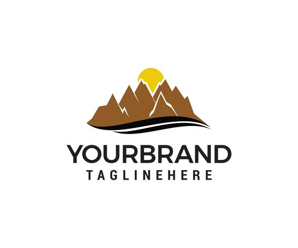 Mountain sun logo design concept template vecteur