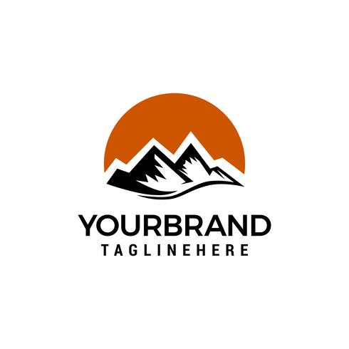 Mountain Sun logo design koncept mall vektor