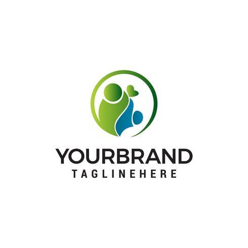 Vector de plantilla de personas concepto de diseño de logotipo de cuidado familiar