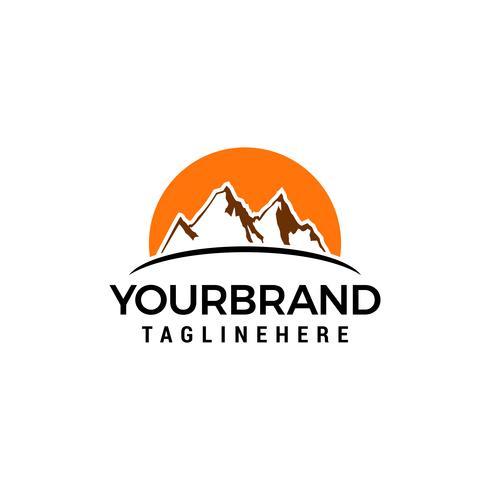 Vector de plantilla de concepto de diseño de logotipo de sol de montaña