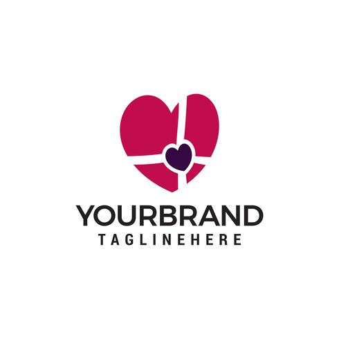 Hart liefde cadeau logo ontwerp concept sjabloon vector