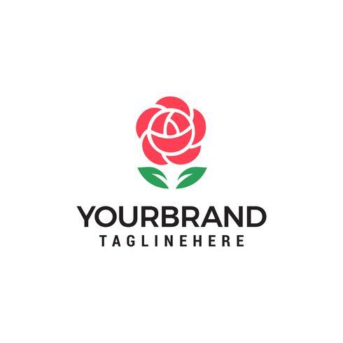 Vettore del modello di concetto di progettazione di logo del fiore della rosa