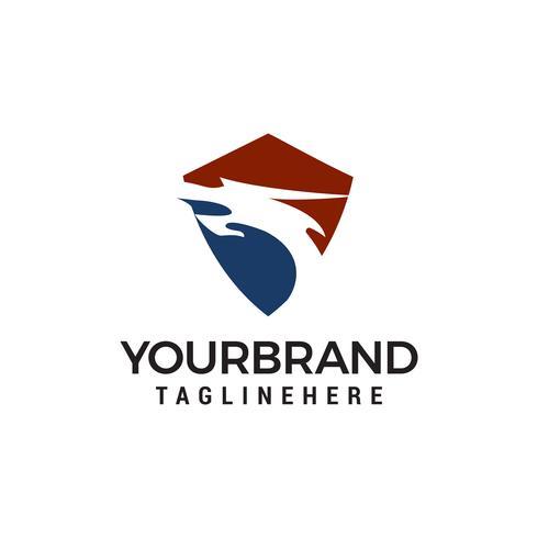 draak hoofd schild logo ontwerp concept sjabloon vector