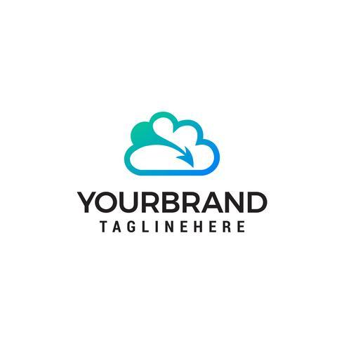 Creative Cloud Logo Design. Creatieve vector pictogram van een blauwe wolk met pijlen ontwerpsjabloon