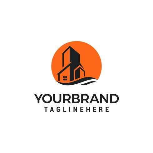 Modèle de conception de logo de bâtiment Sun Estate.