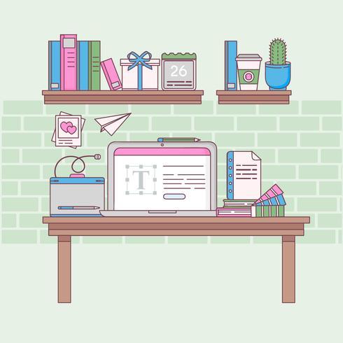 Ilustração de espaço de trabalho de contorno de vetor